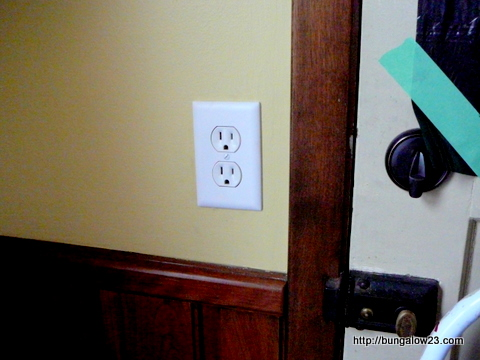 power outlet by old back door