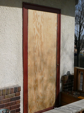 kitchen doorway plywood