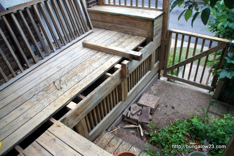 deck railing and bench removed