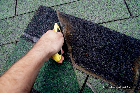 scoring shingle cut