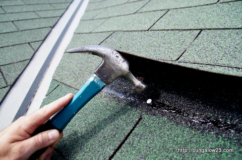 nailing in replacement shingle