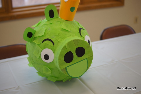 Green Pig King Pinata